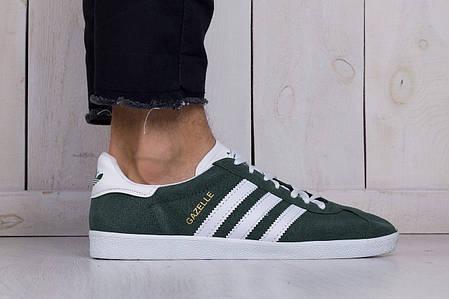 Мужские кроссовки Adidas gazelle зелено-белые топ реплика, фото 2