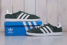 Мужские кроссовки Adidas gazelle зелено-белые топ реплика, фото 3