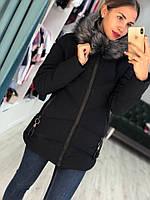 Женская куртка евро зима на синтепоне с капюшоном из меха