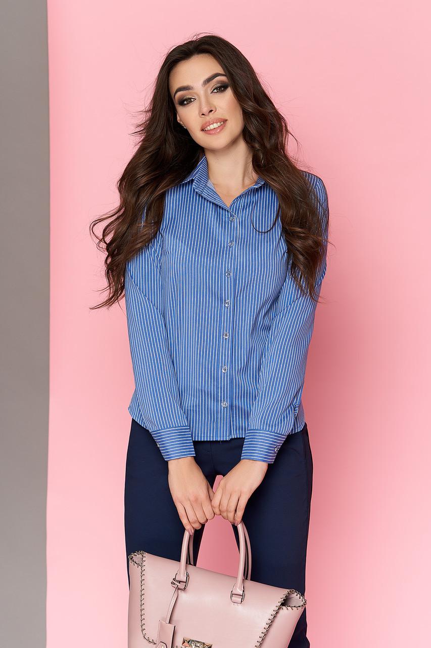 Стильная женская офисная рубашка в полоску голубая