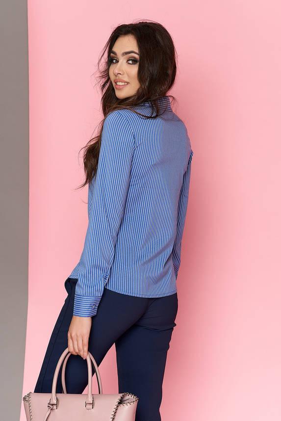 Стильная женская офисная рубашка в полоску голубая, фото 2