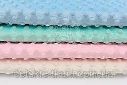 Набор отрезов плюша минки: розовый, молочный, мятный, голубой из 4 шт (33*40) №83