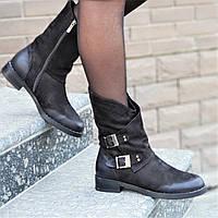 Женские зимние ботинки, полусапожки натуральная кожа черные полушерсть удобные популярные (Код: 1243)