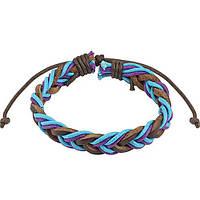 Кожаный плетеный браслет разноцветный Spikes ®, фото 1