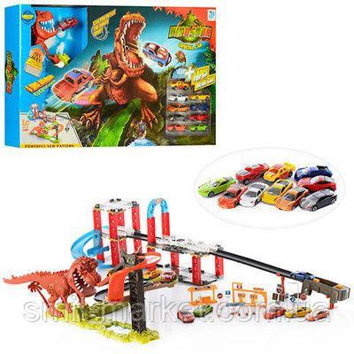 Трек 8899-94  машинки, динозавр.на бат-ке(табл), в кор-ке, 76-43-8,5см, фото 2