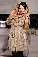 """Шуба женская с капюшоном, из эко-меха под норочку """"Бежевый леопард"""""""