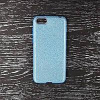 Чехол накладка для Huawei Honor 7A Dua-L22 силиконовый, Remax 3 в 1 GLITTER, Голубой