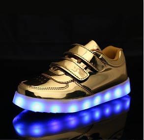 Детские светящиеся LED кроссовки с подсветкой 11 режимов мигающие с USB зарядкой, фото 2