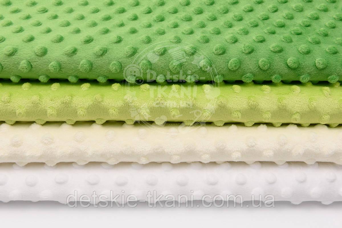 Набор отрезов плюша минки: в молочно-зелёных оттенках из 4 шт (33*40) №76