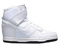 "Сникерсы Nike WMNS Dunk Hight ""White"" С МЕХОМ  (Копия ААА+)"