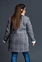"""Шерстяная женская дубленка в клетку """"S&K"""" с карманами (большие размеры), фото 2"""