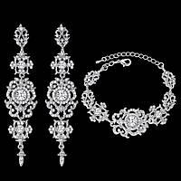 Свадебный набор ювелирная бижутерия посеребрение 4711с-в, фото 1