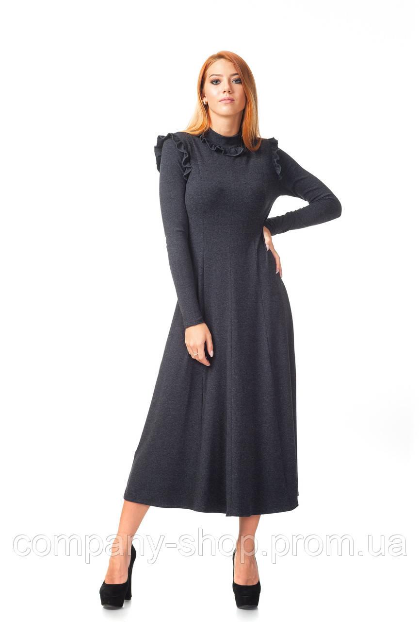 Платье средней длины опт. Модель П126_серый поливискон