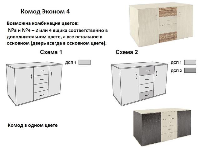 Комод 4 эконом (Схемы выбора цвета ДСП)