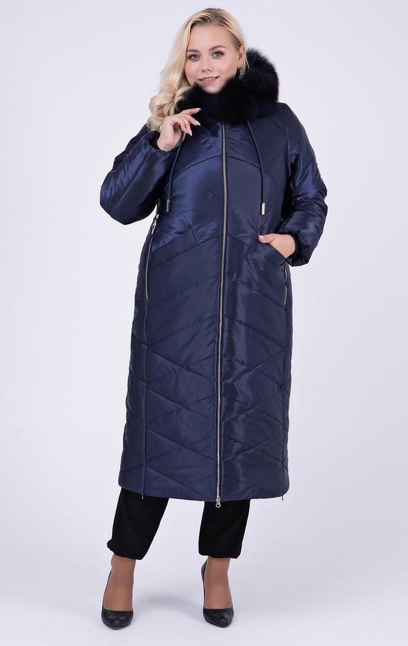 Стильное зимнее пальто с натуральной опушкой из песца цвет Кобальт  большие размеры 50, 56