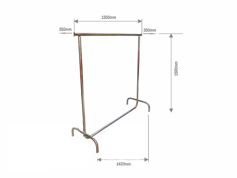Вішалка одинарна для одягу висотою 1500мм шириною 1500мм (без коліс)