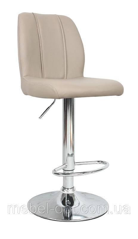 Барный стул В-110 с регулируемой высотой, кожзам в цвете капучино
