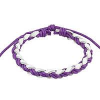 Кожаный браслет Spikes фиолетово-белый, фото 1