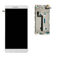 Дисплей (экран) для Xiaomi Mi Max 2 + тачскрин, белый, с передней панелью