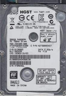"HDD 2.5"" SATA  500GB Hitachi (HGST) Travelstar Z5K500 5400rpm 8MB (HTS545050A7E680/0J38065)"