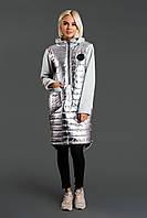 """Комбинированное теплое платье-худи на синтепоне """"SILVER"""" с капюшоном и карманами"""