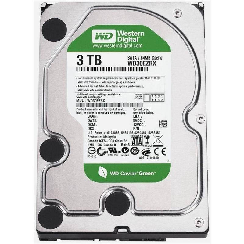 HDD SATA 3.0TB WD Caviar Green 5400rpm 64MB (WD30EZRX) гар. 12 мес.