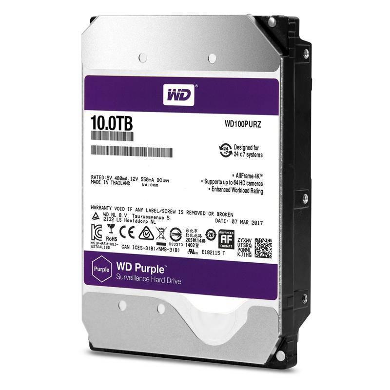 HDD SATA 10.0TB WD Purple 5400rpm 256MB (WD100PURZ)