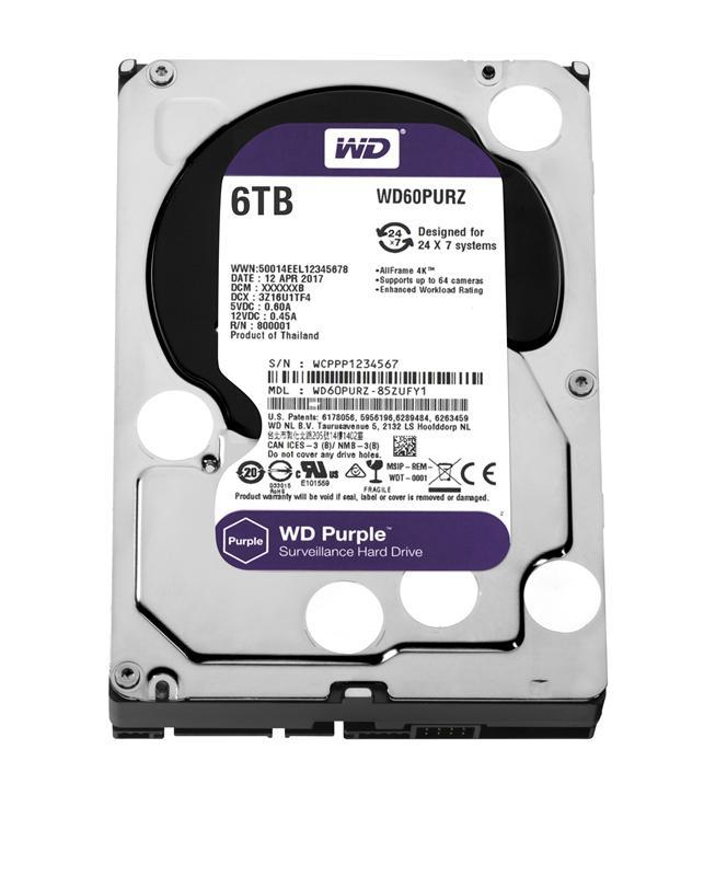 Накопитель HDD SATA 6.0TB WD Purple 5400rpm 64MB (WD60PURZ)