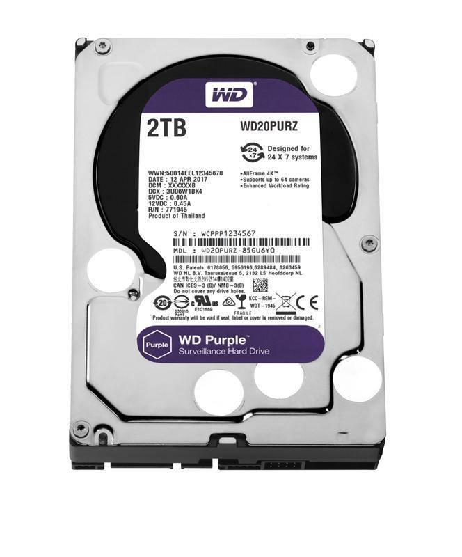 HDD SATA 2.0TB WD Purple 5400rpm 64MB (WD20PURZ)
