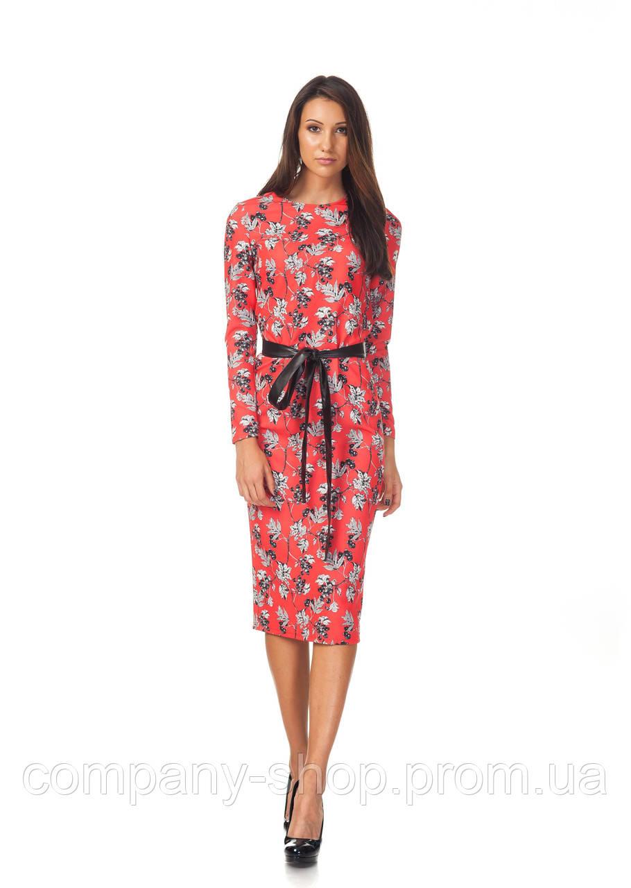 Платье оптом классическое красное. Модель П127_красные ягоды