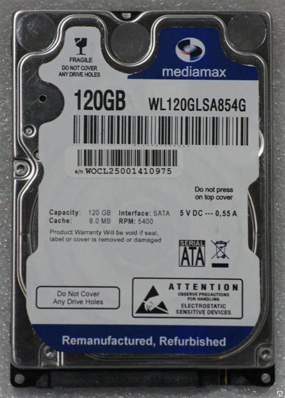 """HDD 2.5"""" SATA  100GB Mediamax 5400rpm 8MB (WL100GLSA854G) гар. 12 мес."""