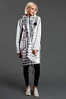 """Комбинированное теплое платье-худи на синтепоне """"SILVER"""" с капюшоном (большие размеры)"""