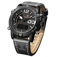 ✖Мужские часы NAVIFORCE 9095 Grey спортивные водонепроницаемые кварцевые ремешок кожзам