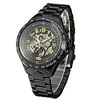 ✗Стильные часы Winner Bussines Black мужские автоматические механические круглые стальной ремешок
