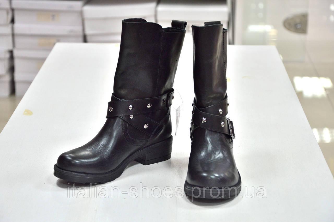 Полусапоги черные кожаные с ремешком G.V.к.-105