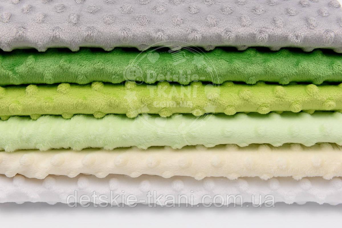 Набор отрезов плюша минки серо-зелёных оттенках из 6 шт (18*30) №72