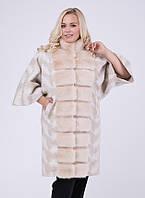 Модное женское длинное шерстяное пончо пальто больших размеров бежевого цвета (46,48,50)