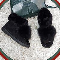 Ботинки зимние с натуральным мехом из искусственной замши на плоской подошве черные, фото 1