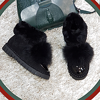 Ботинки зимние с натуральным мехом из искусственной замши на плоской подошве черные