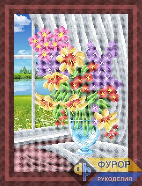 Схема для вышивки бисером картины Цветы в вазе у окна (НБч3-147)