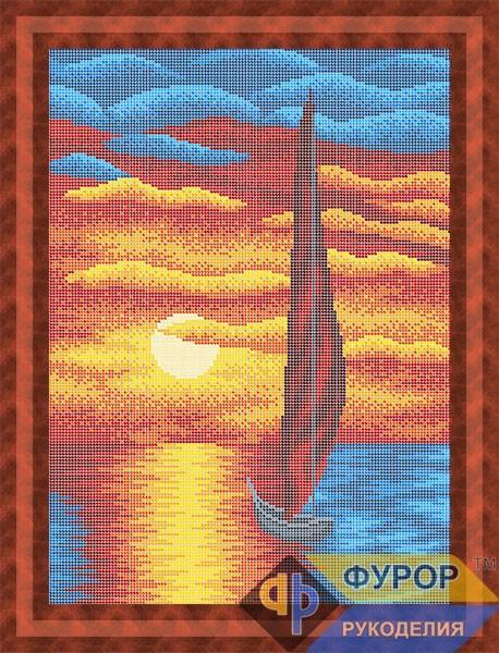 Схема для вышивки бисером картины Парусник на закате (ПБп3-078)