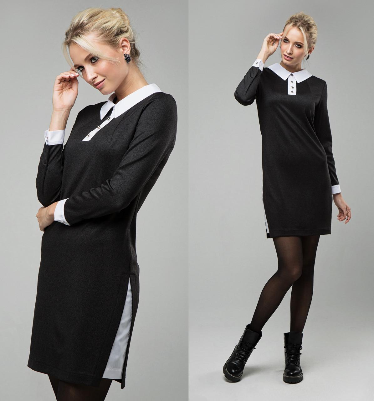 Офисное платье рубашка женское трикотажное с люрексом