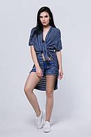 SEWEL Шаль HS426 (One Size, ультрамарин, темно-синий, светло-серый, 50% хлопок/ 50% акрил)