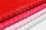 Набор отрезов плюша минки розово-красного цвета из 4 шт (50*50) №67, фото 2