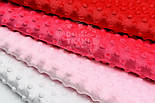 Набор отрезов плюша минки розово-красного цвета из 4 шт (50*50) №67, фото 3