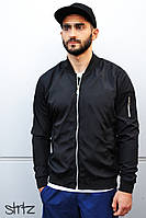 Мужской бомбер/куртка/ветровка на молнии без капюшона, черная