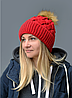 Женская шапка Лора. Зимняя на флисе. р.55-58. Т.красный,, молоко,беж,пудра,св.серый