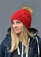 Женская шапка Лора. Зимняя на флисе. р.55-58. Т.красный,, молоко,беж,пудра,св.серый, фото 1