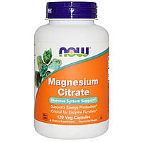 Now Foods, Цитрат магния, магний, 120 капсул, Magnesium Citrate