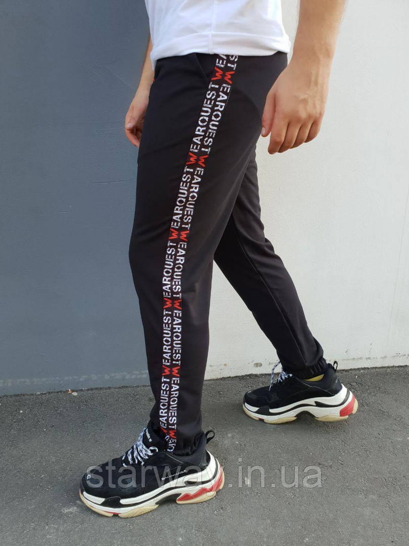 Чёрные спортивные штаны с лампасом Wear | турецкий трикотаж